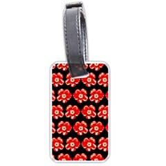 Red  Flower Pattern On Brown Luggage Tags (two Sides) by Costasonlineshop