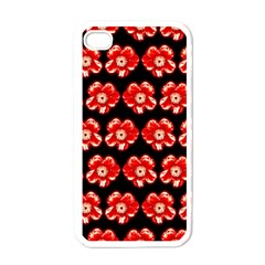 Red  Flower Pattern On Brown Apple Iphone 4 Case (white) by Costasonlineshop