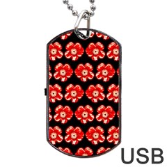 Red  Flower Pattern On Brown Dog Tag Usb Flash (one Side) by Costasonlineshop