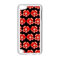 Red  Flower Pattern On Brown Apple Ipod Touch 5 Case (white) by Costasonlineshop
