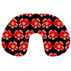 Red  Flower Pattern On Brown Travel Neck Pillows by Costasonlineshop