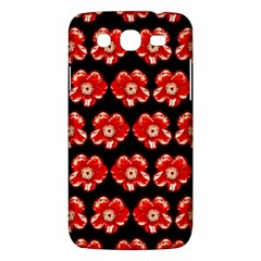 Red  Flower Pattern On Brown Samsung Galaxy Mega 5 8 I9152 Hardshell Case  by Costasonlineshop
