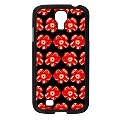 Red  Flower Pattern On Brown Samsung Galaxy S4 I9500/ I9505 Case (black) by Costasonlineshop