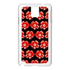 Red  Flower Pattern On Brown Samsung Galaxy Note 3 N9005 Case (white) by Costasonlineshop