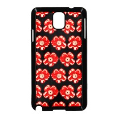 Red  Flower Pattern On Brown Samsung Galaxy Note 3 Neo Hardshell Case (black) by Costasonlineshop