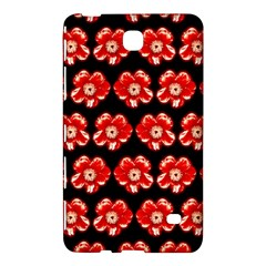 Red  Flower Pattern On Brown Samsung Galaxy Tab 4 (8 ) Hardshell Case  by Costasonlineshop