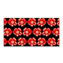 Red  Flower Pattern On Brown Satin Wrap by Costasonlineshop