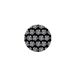 White Gray Flower Pattern On Black 1  Mini Buttons by Costasonlineshop