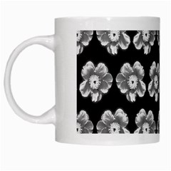 White Gray Flower Pattern On Black White Mugs by Costasonlineshop