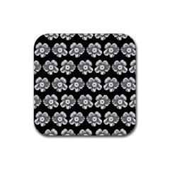 White Gray Flower Pattern On Black Rubber Square Coaster (4 Pack)  by Costasonlineshop