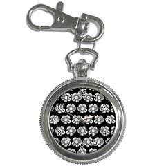 White Gray Flower Pattern On Black Key Chain Watches by Costasonlineshop