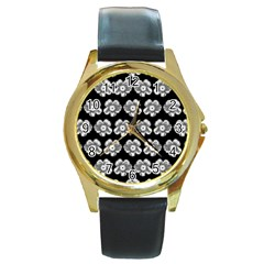 White Gray Flower Pattern On Black Round Gold Metal Watch by Costasonlineshop