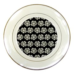 White Gray Flower Pattern On Black Porcelain Plates by Costasonlineshop