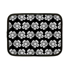 White Gray Flower Pattern On Black Netbook Case (small)  by Costasonlineshop