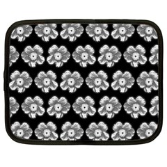 White Gray Flower Pattern On Black Netbook Case (xl)  by Costasonlineshop