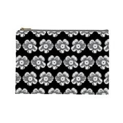 White Gray Flower Pattern On Black Cosmetic Bag (large)  by Costasonlineshop