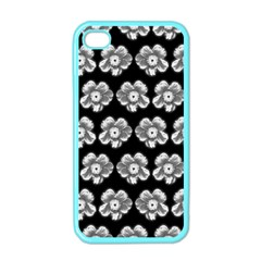 White Gray Flower Pattern On Black Apple Iphone 4 Case (color) by Costasonlineshop