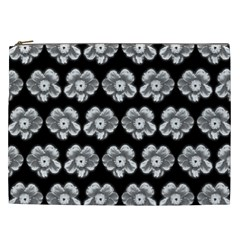 White Gray Flower Pattern On Black Cosmetic Bag (xxl)  by Costasonlineshop