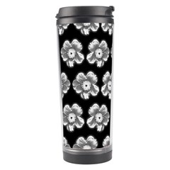 White Gray Flower Pattern On Black Travel Tumbler by Costasonlineshop