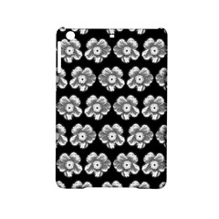 White Gray Flower Pattern On Black Ipad Mini 2 Hardshell Cases by Costasonlineshop