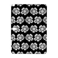 White Gray Flower Pattern On Black Galaxy Note 1 by Costasonlineshop