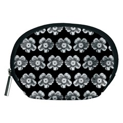 White Gray Flower Pattern On Black Accessory Pouches (medium)  by Costasonlineshop