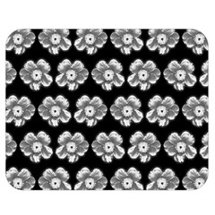 White Gray Flower Pattern On Black Double Sided Flano Blanket (medium)