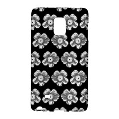 White Gray Flower Pattern On Black Galaxy Note Edge