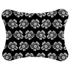 White Gray Flower Pattern On Black Jigsaw Puzzle Photo Stand (bow) by Costasonlineshop