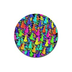 Colorful Cats Magnet 3  (round)
