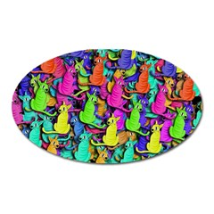 Colorful Cats Oval Magnet by Valentinaart