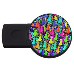 Colorful Cats Usb Flash Drive Round (2 Gb)  by Valentinaart