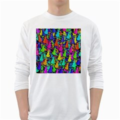 Colorful Cats White Long Sleeve T Shirts by Valentinaart