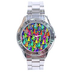 Colorful Cats Stainless Steel Analogue Watch by Valentinaart
