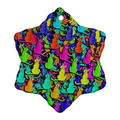 Colorful Cats Snowflake Ornament (2 Side)