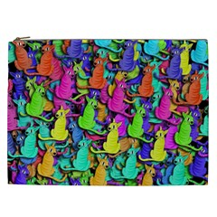 Colorful Cats Cosmetic Bag (xxl)  by Valentinaart