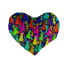 Colorful Cats Standard 16  Premium Heart Shape Cushions by Valentinaart