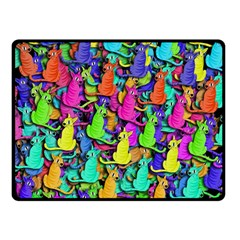 Colorful Cats Double Sided Fleece Blanket (small)  by Valentinaart