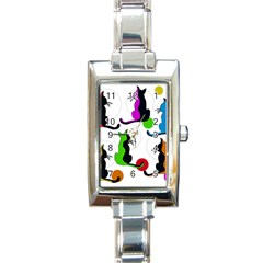 Colorful Abstract Cats Rectangle Italian Charm Watch by Valentinaart