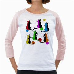 Colorful Abstract Cats Girly Raglans by Valentinaart