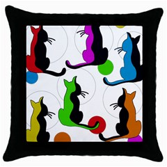 Colorful Abstract Cats Throw Pillow Case (black) by Valentinaart