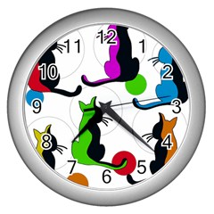 Colorful Abstract Cats Wall Clocks (silver)  by Valentinaart