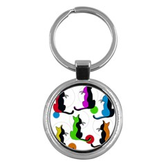 Colorful Abstract Cats Key Chains (round)  by Valentinaart