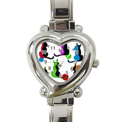 Colorful Abstract Cats Heart Italian Charm Watch by Valentinaart