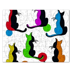 Colorful Abstract Cats Rectangular Jigsaw Puzzl by Valentinaart