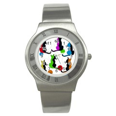 Colorful Abstract Cats Stainless Steel Watch by Valentinaart
