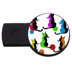 Colorful Abstract Cats Usb Flash Drive Round (4 Gb)  by Valentinaart
