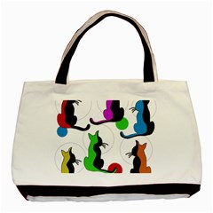Colorful Abstract Cats Basic Tote Bag (two Sides) by Valentinaart