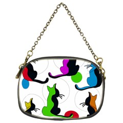 Colorful Abstract Cats Chain Purses (two Sides)  by Valentinaart