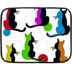 Colorful Abstract Cats Double Sided Fleece Blanket (mini)  by Valentinaart